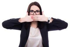 Censor - beklemtoonde jonge bedrijfsvrouw die haar mond behandelen isolat Royalty-vrije Stock Foto's