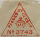 Censor's approval. First World War British censorship stamp, used on an envelope from the Front Stock Photography