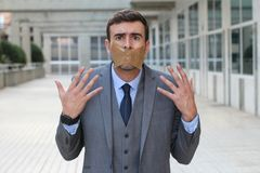 Censored businessman unable to express his opinion Stock Images