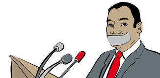 Censored. Man in suit prevented from talking by taped mouth royalty free illustration