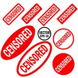 Censored set of red round and square rubber stamps Stock Images