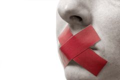 Censored Woman with red tape o Stock Image