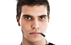 Censorship. Young man with a zip on his mouth, representing censorship royalty free stock image