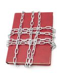 Censorship concept. With book and chains on white royalty free stock photography