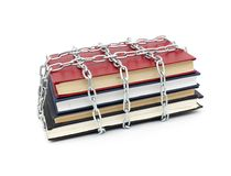 Censorship concept. With books and chains on white royalty free stock image
