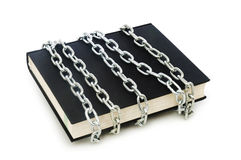 Censorship concept with books and chains Stock Photos