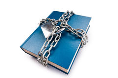 Censorship concept - books and chains on white Royalty Free Stock Photos