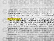 Censorship Highlighted in Dictionary Royalty Free Stock Photos