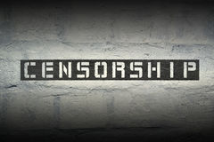 Censorship WORD GR. Censorship stencil print on the grunge white brick wall royalty free stock photo