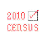 Census 2010 - embroidery. Census 2010 with checkbox, black and red, embroidery on white stock illustration