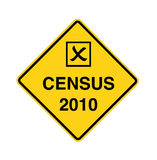 Census 2010 - road sign. Census 2010 ahead - black on yellow with checkbox Royalty Free Stock Photos