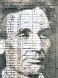 1850 Census, Abraham Lincoln & Family. Image of Abraham Lincoln superimposed over an image of the 1850 United States Census, Springfield, Sangamon County Royalty Free Stock Photography
