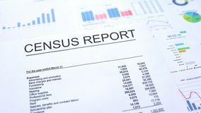Census report lying on table, graphs charts and diagrams, official document. Stock photo vector illustration