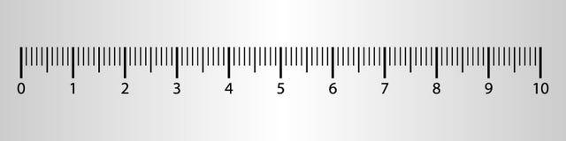 10 centímetros de la regla de herramienta de la medida con la escala de los números Carta del cm del vector con el sistema de rej ilustración del vector