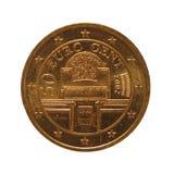 50 centów ukuwają nazwę, Europejski zjednoczenie, Austria odizolowywali nad bielem zdjęcia stock
