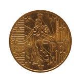 50 centów ukuwają nazwę, Europejski zjednoczenie, Francja odizolowywali nad bielem zdjęcie royalty free