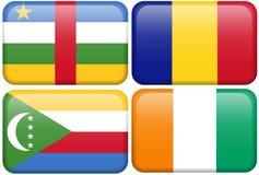 Cent. Afr. République, Tchad, Comores, Cote d'Ivoire Images stock