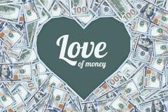 Cent billets d'un dollar sous forme de coeur, l'amour de l'argent Photographie stock libre de droits