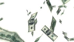 Cent billets d'un dollar volant dans l'animation faite une boucle sur le blanc HD 1080 illustration stock