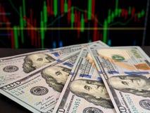 Cent billets de banque des dollars des Etats-Unis Images libres de droits