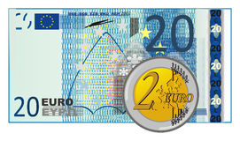 Cent with cash. Cash of 20 euro with coin of 2 euro Stock Photo