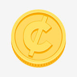 Cent, centavo, peso currency symbol on gold coin. Cent, centavo from US dollar, the Canadian dollar, and the Mexican peso currency symbol on gold coin, money Stock Photos