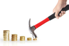 Cent coin and a hammer Stock Photography