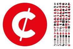 Cent Coin Icon with 90 Bonus Pictograms. Cent coin icon. Vector illustration style is flat iconic symbols in black and red colors. Bonus contains 90 icons vector illustration