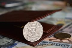 50 cent coin in wallet royalty free stock photo
