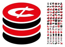 Cent Coins Stack Icon with 90 Bonus Pictograms. Cent coins stack icon. Vector illustration style is flat iconic symbols in black and red colors. Bonus contains stock illustration