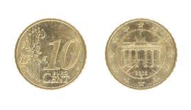 cent för euro 10, från 2002 Arkivfoton