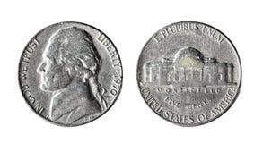 5 cent 1970, Förenta staterna 1951-1980 Isolerat objekt på en vit bakgrund Arkivfoto