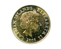 25-Cent-Münze (zwei bemasteter Kaiman-Schoner) Bank des Kaimans Islan Stockbilder