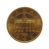 50 cent mynt, europeisk union, Tyskland som isoleras över vit Royaltyfri Bild
