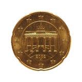 50 cent mynt, europeisk union, Tyskland som isoleras över vit Arkivfoto