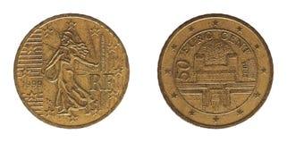 50 cent mynt, Frankrike och Österrike, Europa Arkivbilder