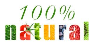 Cent pour cent de nourriture naturelle Images stock
