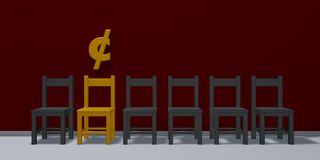 Cent symbol and row of chairs. 3d rendering Stock Images