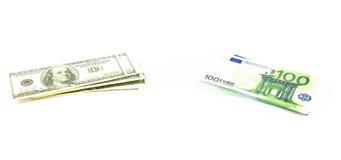 Centaines de dollars et euro Images libres de droits