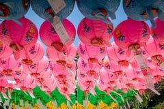 Centaines de lanternes accrochant hors du te de Bulguksa Images libres de droits
