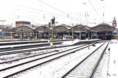 Cental Railway Station in Wiesbaden in Wintertime Royalty Free Stock Images
