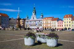 Cental town square of Ceske Budejovice, Czech republic. June 18, 2017 Royalty Free Stock Photo