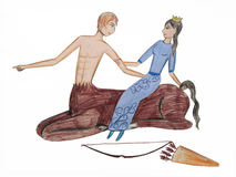 Centaur and girl Royalty Free Stock Images