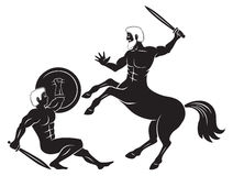 Centaur and Hercules. The figure shows a centaur and Hercules Stock Image