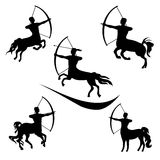 Centaur set vector. Centaur set of black silhouettes. Icons and illustrations of sagittarius. Archery pattern vector illustration