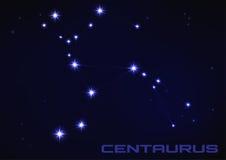 Centaurus constellation. Vector illustration of Centaurus constellation in blue Royalty Free Stock Photos