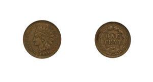 Centavo de 1859 indios Fotos de archivo libres de regalías
