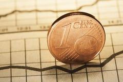 1 centavo euro en el periódico Imagen de archivo