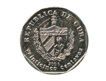 25 centavo ukuwają nazwę, bank Kuba Odwrotność, 2006 Obrazy Stock