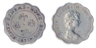 20 centavos 1977 acuñan aislado en el fondo blanco, Hong Kong Imagenes de archivo